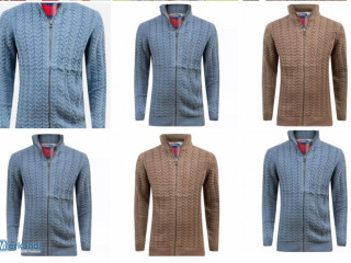 Mens Ex - magasin Cardigan à fermeture éclair Chunky Cable Knit Thick Weave Fisher