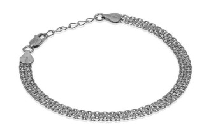 Bracelet chaîne Bismark classique avec motif (rhodium) 5,5 mm